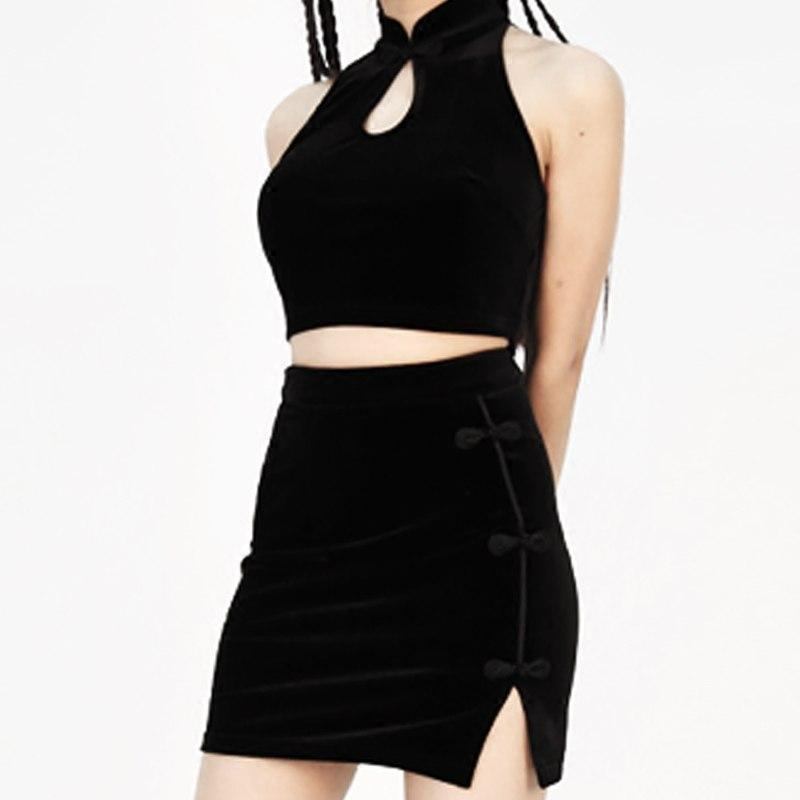 Sexy Punk Rock Top and Skirt Set-BlackTee-XS-