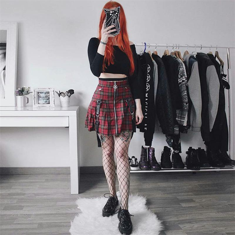 Sexy Red Pleated Suspender Skirt - The Black Ravens