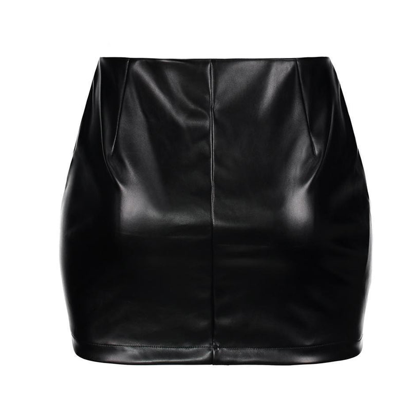 Sexy Red Rose Leather Skirt For Women-Black-L-