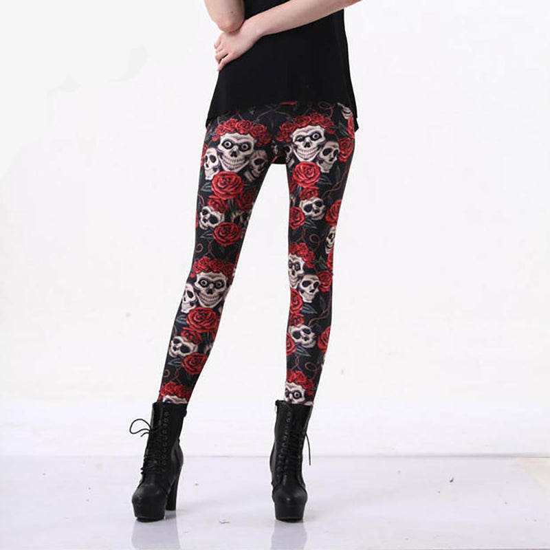 Sexy Red Skull Fitness Leggings - The Black Ravens