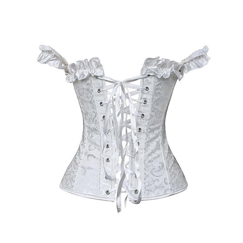 Sexy Ruffles Lace Up Black And White Underbust Corset-Black-S-