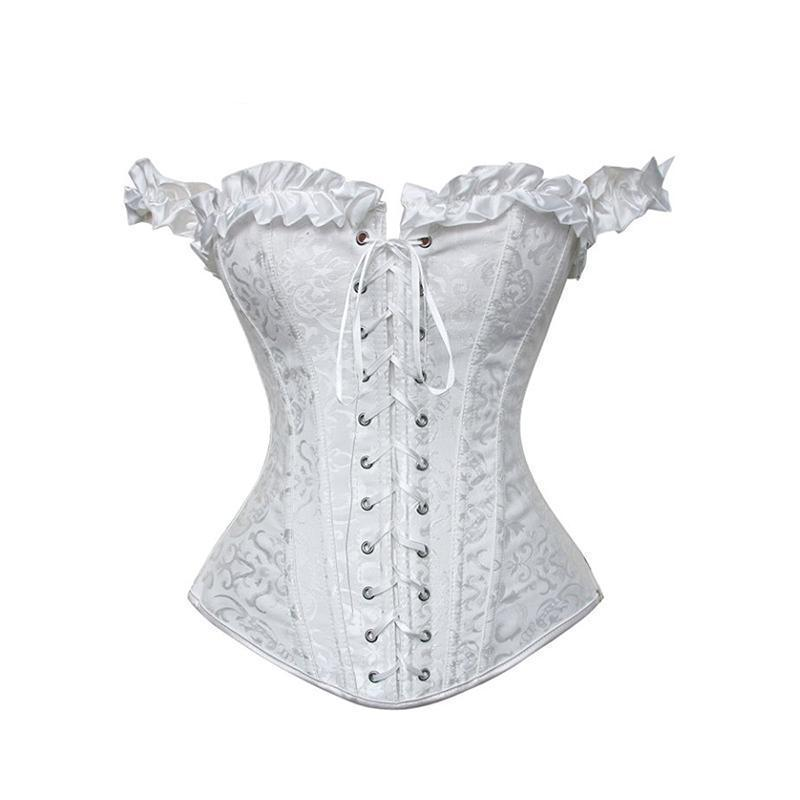 Sexy Ruffles Lace Up Black And White Underbust Corset-White-S-