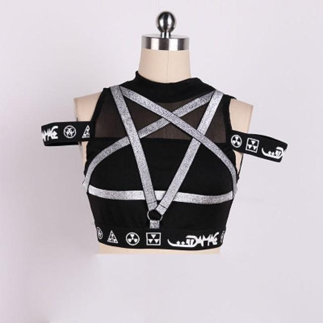 Sexy Silver Pentagram Crop Top-L-