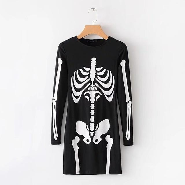 Sexy Skeleton Full Sleeve Dress - The Black Ravens