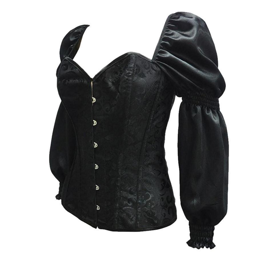 Sexy Sleeved Black Steampunk Vintage Corset For Women-Black-S-