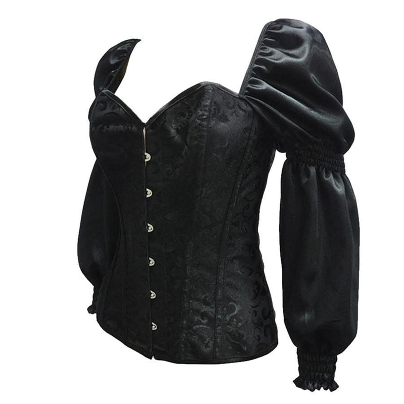 Sexy Sleeved Black Steampunk Vintage Corset For Women - The Black Ravens