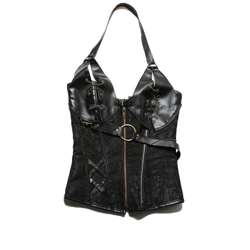Sexy Steampunk Black Sequined Corset-Black-S-