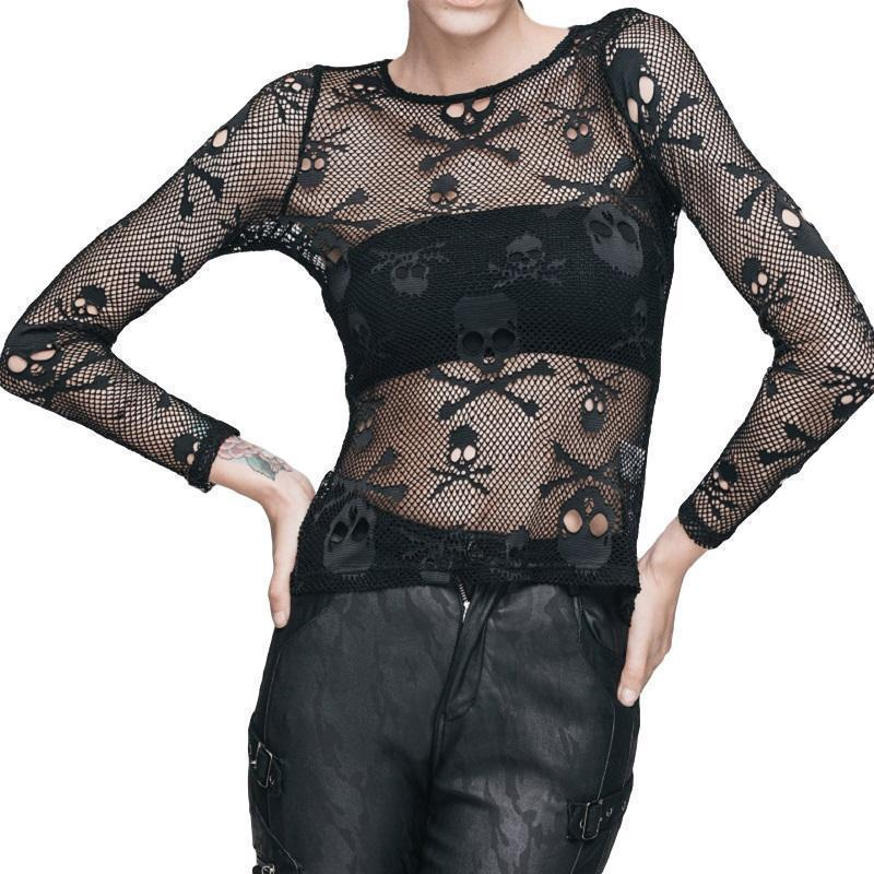 Sexy Summer Skeleton Head Mesh T-Shirt-Black-4 - S-