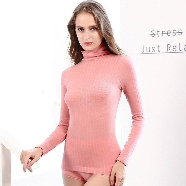 Sexy Tight-Fitting Breathable Undershirt Set-Pink-