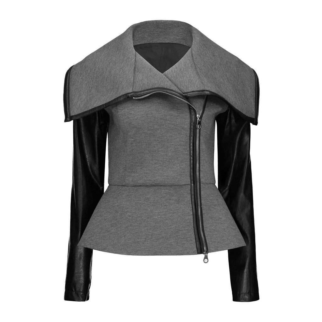 Sexy Turndown Collar Women's Leather Jacket-Black-M-