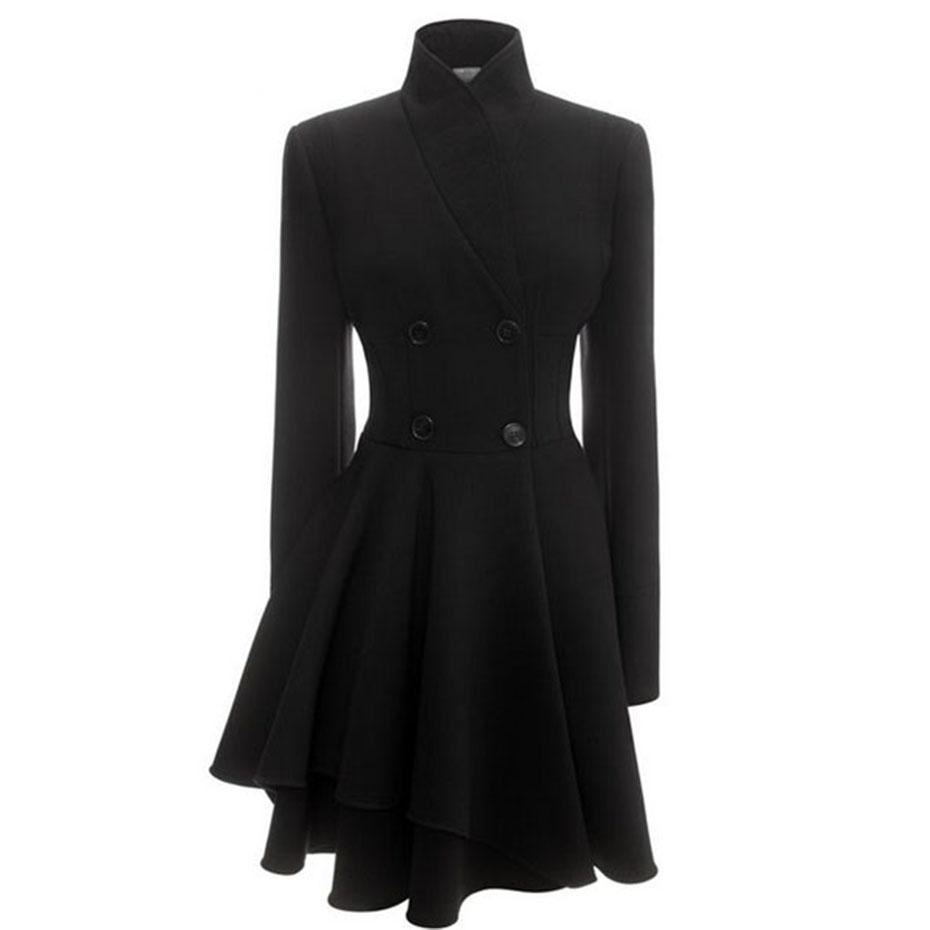 Sexy Wave Black Classic Trench Coat-Black-M-