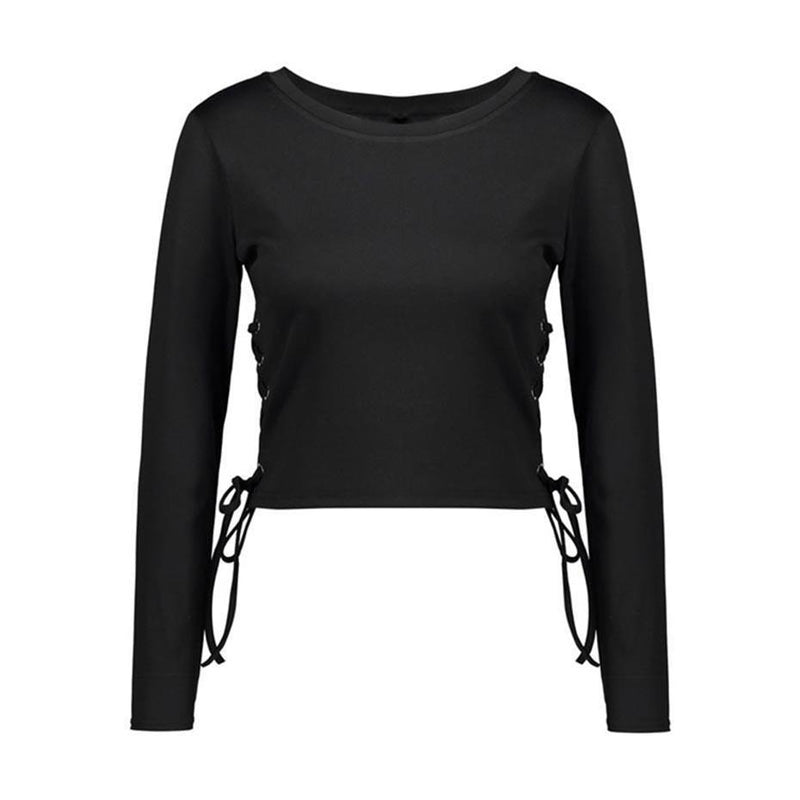 Short Tassel Long Sleeve Black Tops-Black-S-