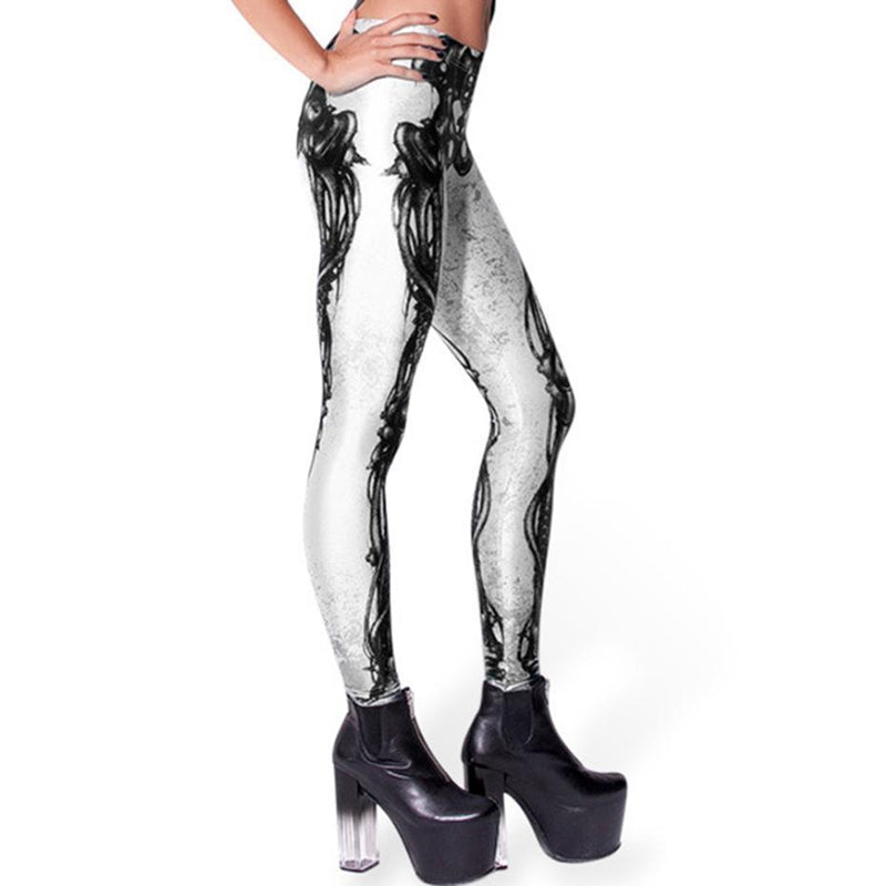 Silver And Black Realistic Skeleton Bone Leggings-Black-One Size-