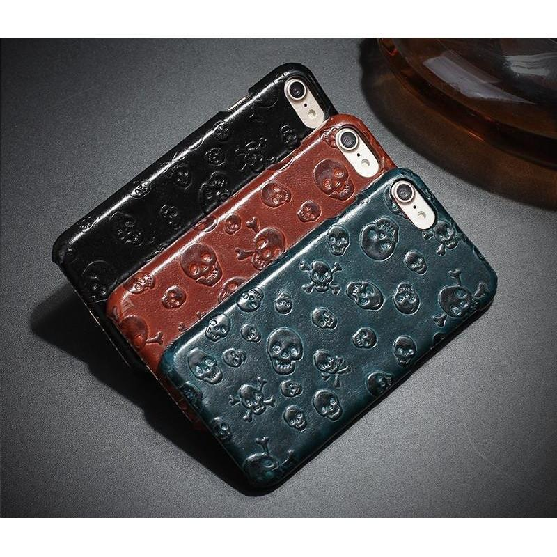 Skeleton Head Genuine Leather iPhone Cases-Black-For Iphone 5 5S Se-