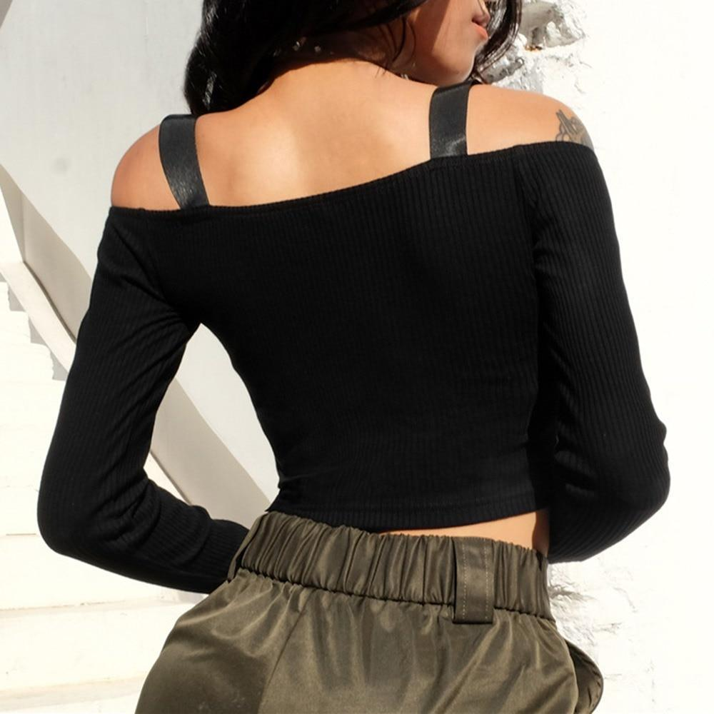 Slash Neck Buckled Full-Sleeve Top-S-