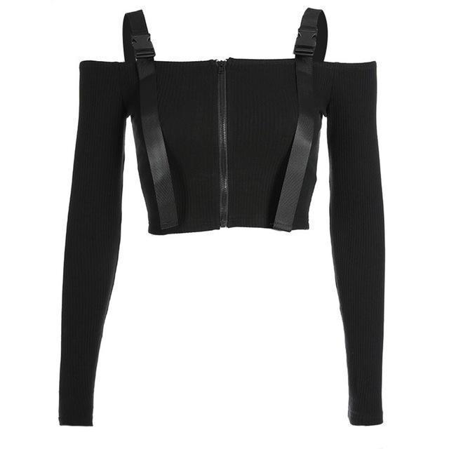 Slash Neck Buckled Full-Sleeve Top - The Black Ravens