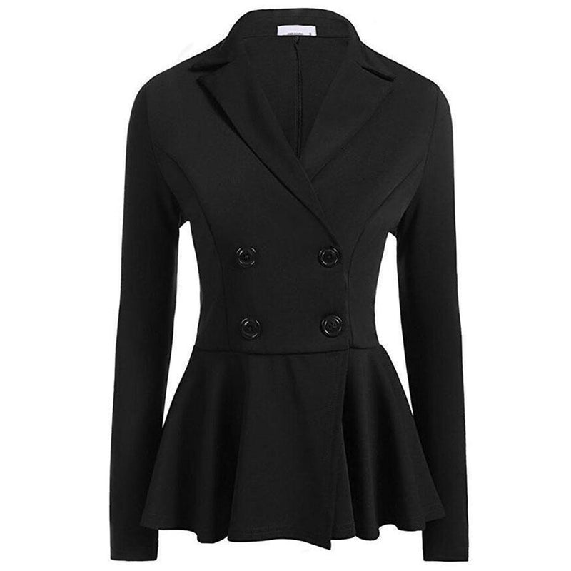 Slim Black Formal Blazer For Women-Black-S-