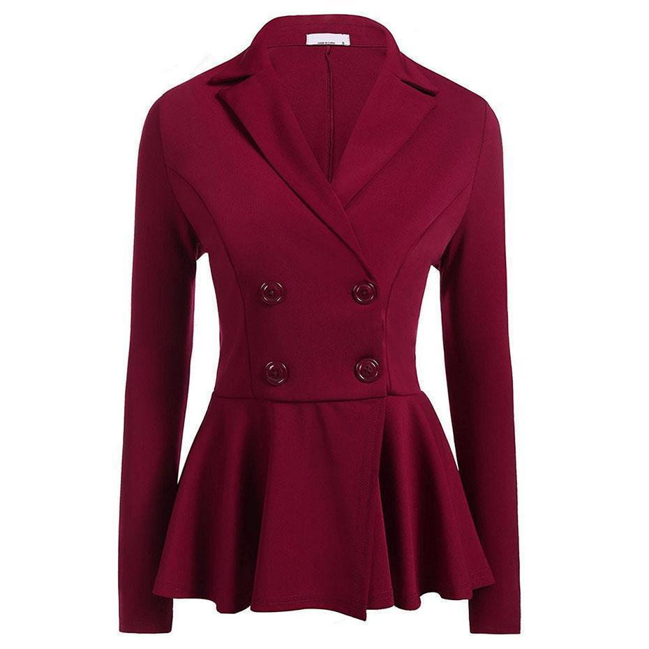 Slim Black Formal Blazer For Women-Burgundy-S-
