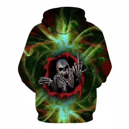 Smokey Green Swearing Skeleton Hoodies - The Black Ravens