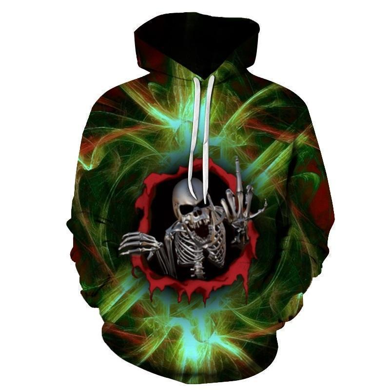 Smokey Green Swearing Skeleton Hoodies-Green-XXS-