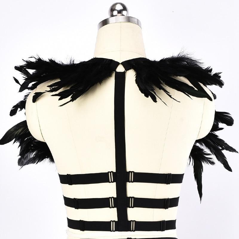Square Pattern Elastic Bust Cage - The Black Ravens