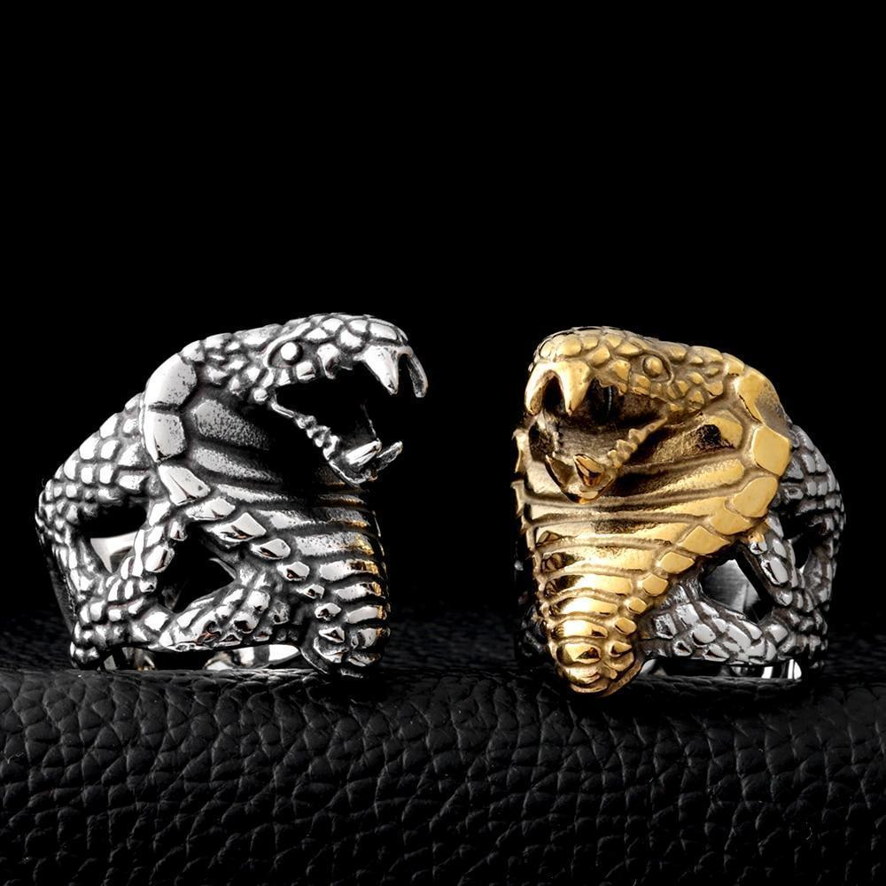 Stainless Steel Cobra Snake Punk Ring-7-gold colour-