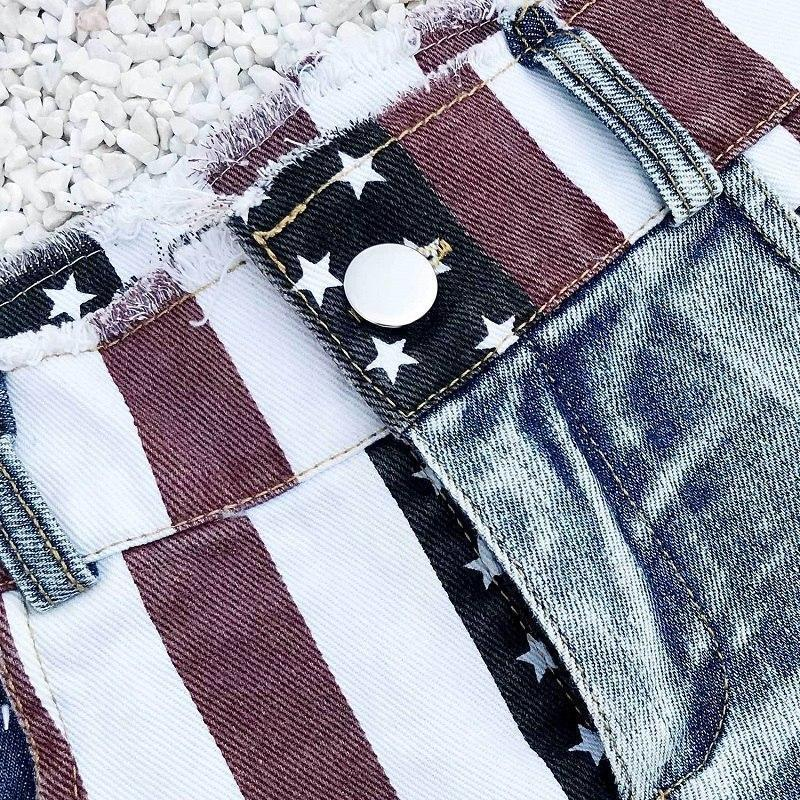 Star Spangled Ladies' Ripped Denim Shorts-S-