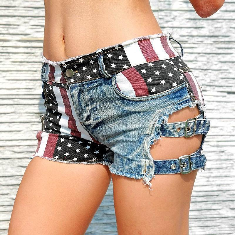 Star Spangled Ladies' Ripped Denim Shorts - The Black Ravens