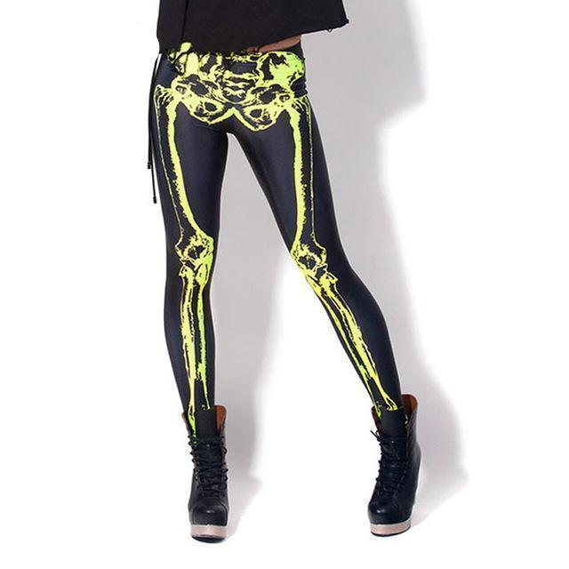 Stretchy Casual Skeleton Gothic Leggings For Women-