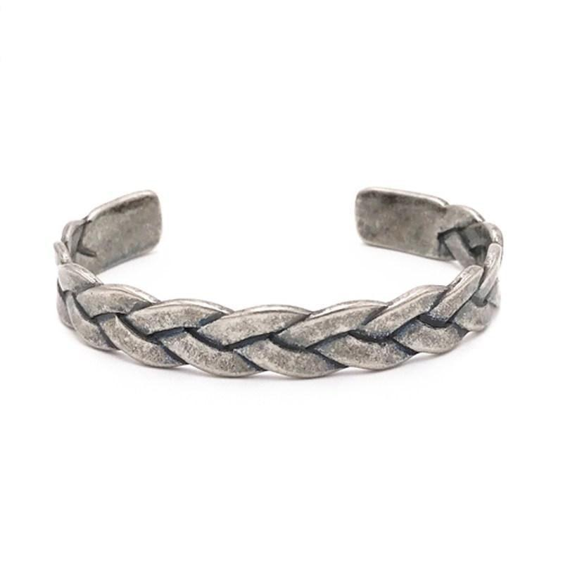 Strong Titanium Braided Rope Style Bracelets For Guys-Retro Silver-