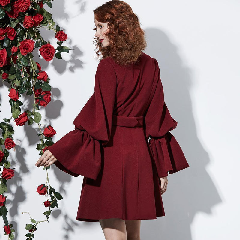 Stunning Alternative Luxury Coats-Burgundy-S-