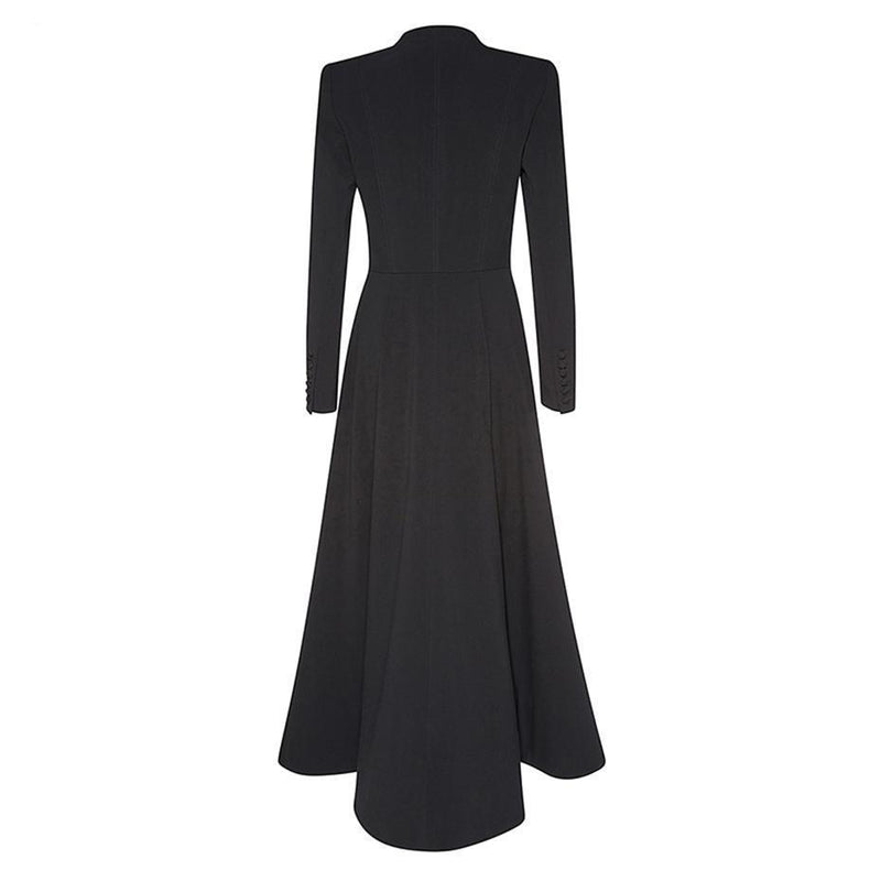 Stunning Ankle Length Maxi Trench Coat For Women-Black-M-