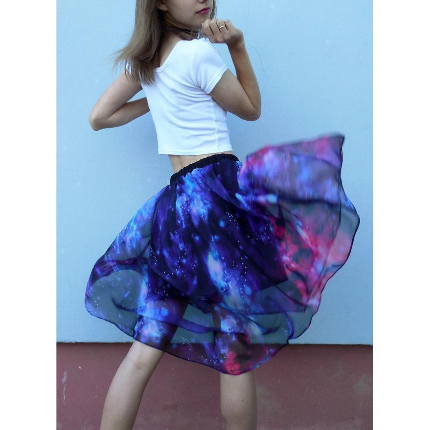 Stunning Bright Starry Space Skirt-Blue-S-