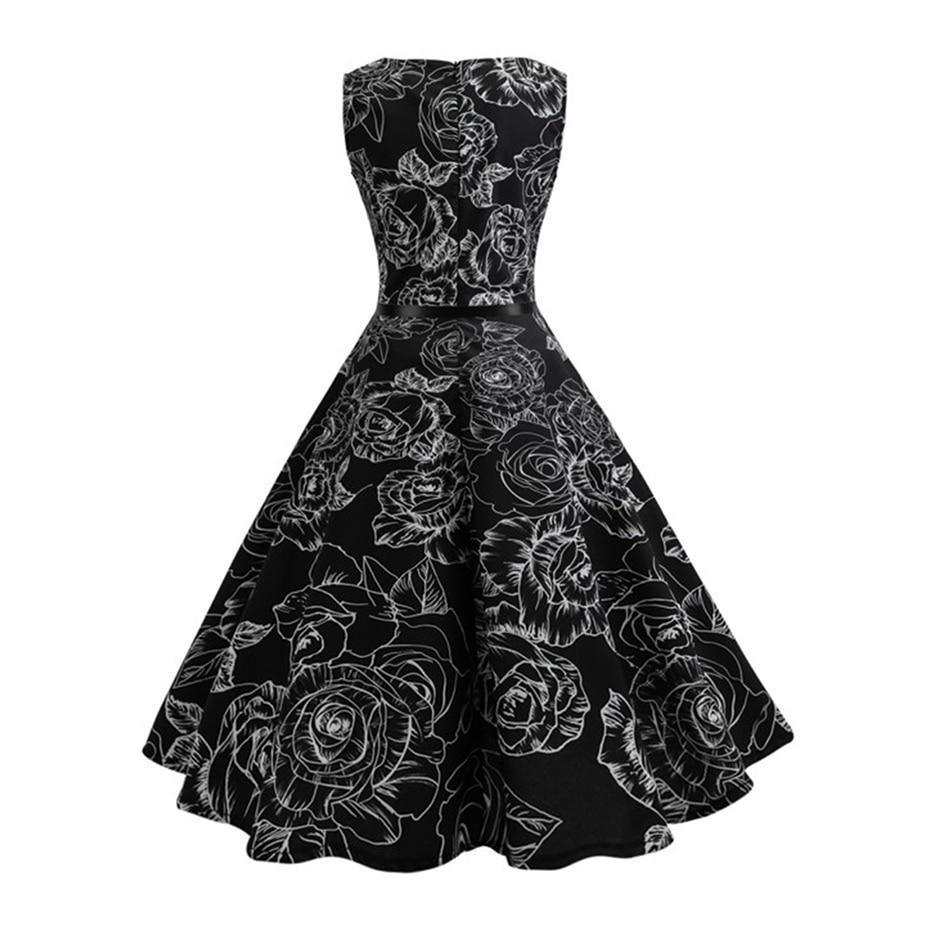 Stunning Floral Print Retro Party Dress-S-