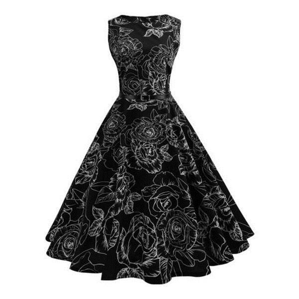 Stunning Floral Print Retro Party Dress - The Black Ravens