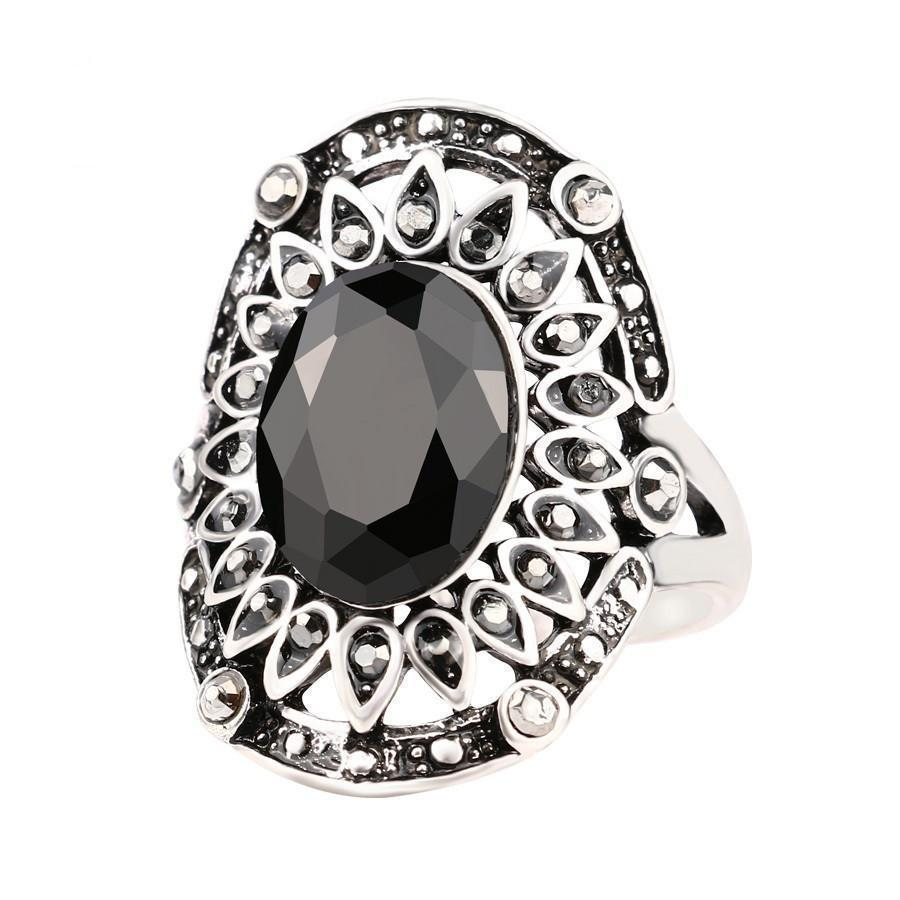 Stunning Gemstone Classic Style Ring With Crystals-7-Black-Silver Plated
