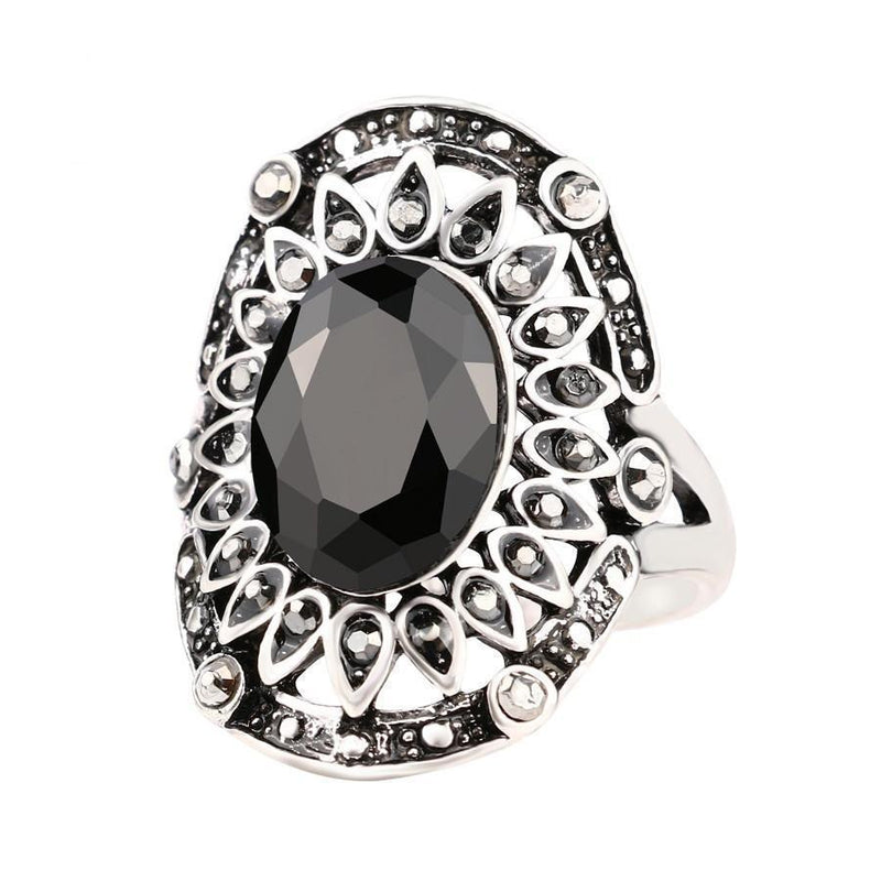 Stunning Gemstone Classic Style Ring With Crystals - The Black Ravens