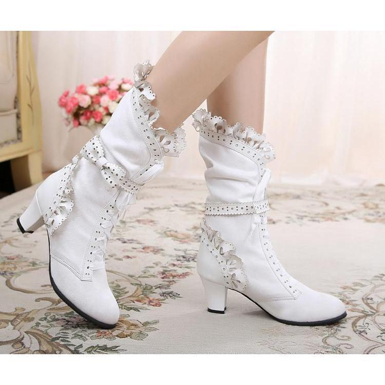 Stunning Ruffle Lace Up Bow Lolita Boots - The Black Ravens
