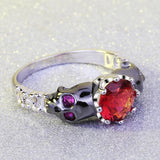 Stunning Stirling Silver Skull Rings With Rubies For Women-5-Red-
