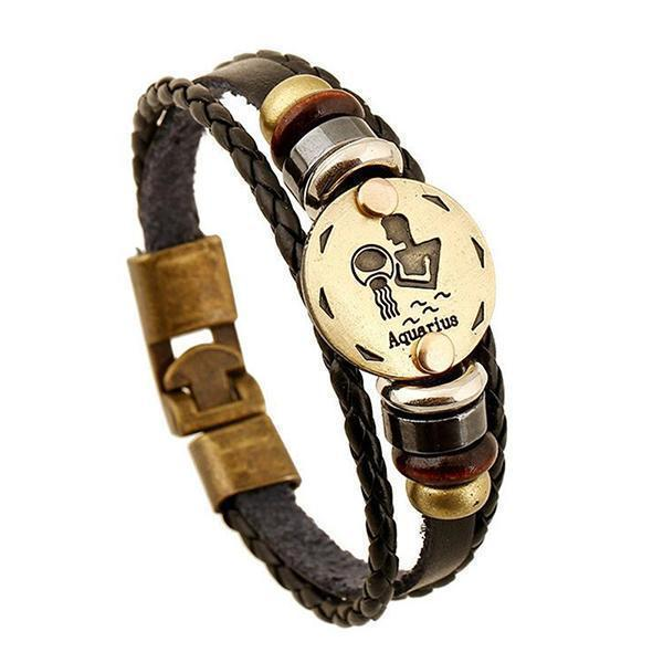 Stunning Unisex Rocker Astrology Leather Bracelets-Aquarius-