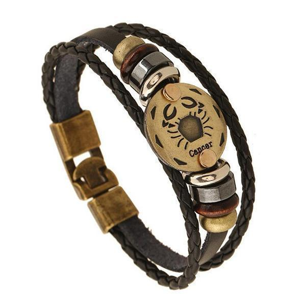 Stunning Unisex Rocker Astrology Leather Bracelets-Cancer-