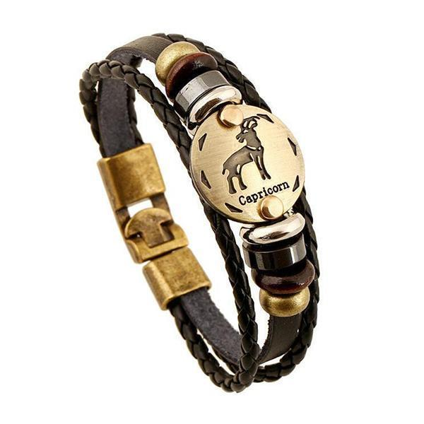 Stunning Unisex Rocker Astrology Leather Bracelets-Capricorn-