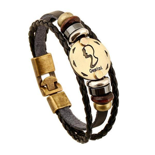 Stunning Unisex Rocker Astrology Leather Bracelets-Gemini-