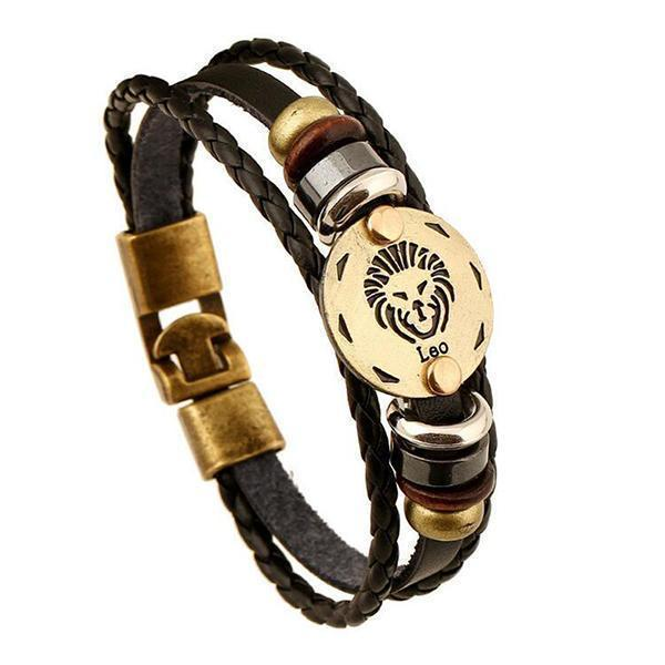 Stunning Unisex Rocker Astrology Leather Bracelets-Leo-