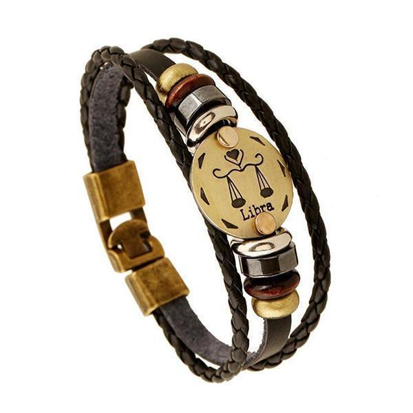 Stunning Unisex Rocker Astrology Leather Bracelets-Libra-