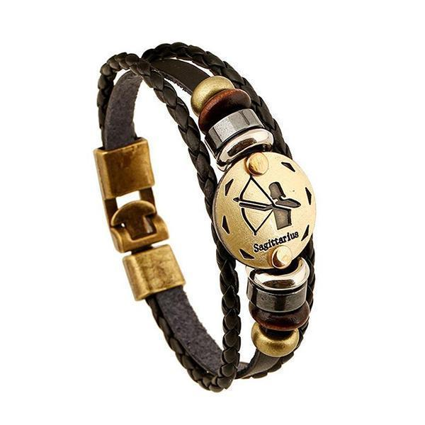 Stunning Unisex Rocker Astrology Leather Bracelets-Sagittarius-