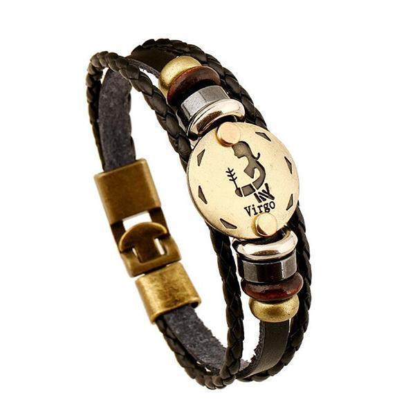 Stunning Unisex Rocker Astrology Leather Bracelets-Virgo-