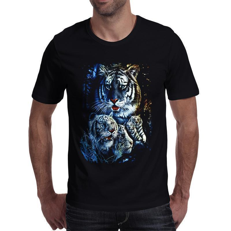 Stunning White Tiger Short Sleeve T-Shirt-Black-S-