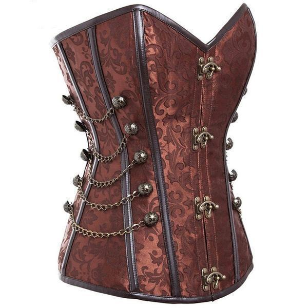 Stunning Women's Vintage Design Corsets-Brown-XXL-