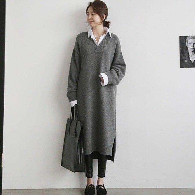 Stylish And Cozy Knitted Office Dress-Gray-